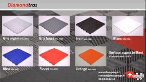 Les couleurs des dalles Swisstrax diamondtrax